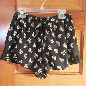 Drawstring Tiny Silky Floral Shorts w/ Lace Detail